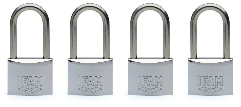 4pcs.IFAM 40mm KEYED ALIKE LONG SHACKLE MARINE PADLOCK. SALT SPRAY TESTED.