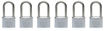 6 pcs. IFAM 40mm  KEYED ALIKE LONG SHACKLE MARINE PADLOCKS. SALT SPRAY TESTED.