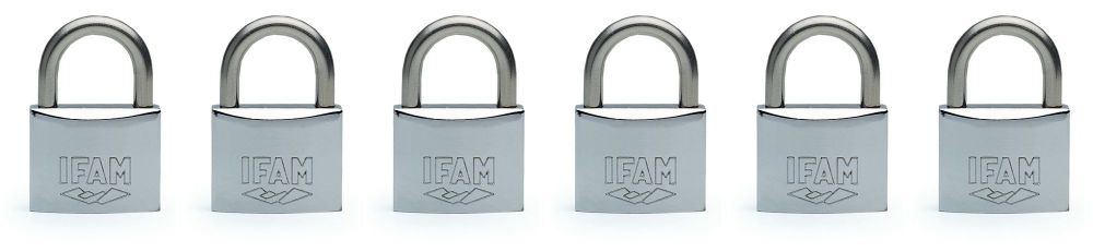 6 pcs. IFAM 40mm  KEYED ALIKE MARINE PADLOCKS. SALT SPRAY TESTED.