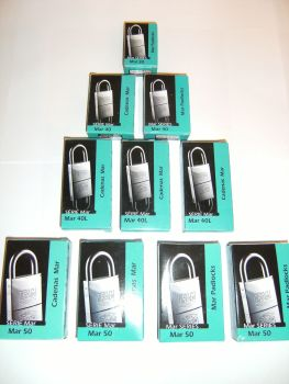 12pcs IFAM 40mm LONG SHACKLE KEYED ALIKE MARINE PADLOCKS. SALT SPRAY TESTED.
