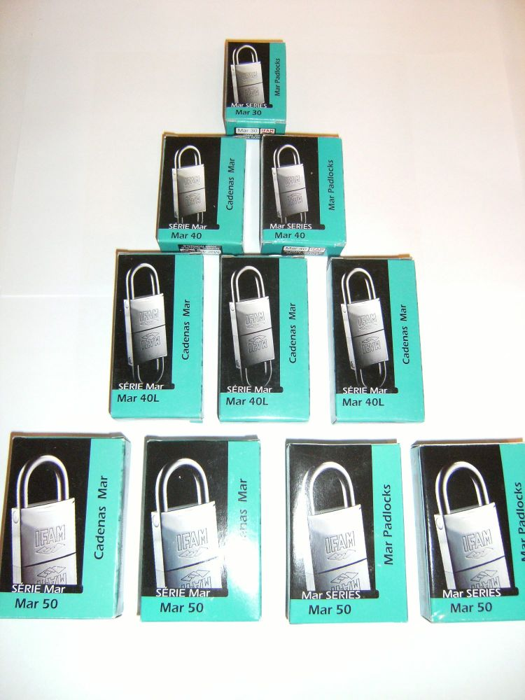 12pcs IFAM 40mm LONG SHACKLE KEYED ALIKE MARINE PADLOCKS. SALT SPRAY TESTED