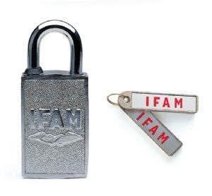 IFAM MAGNETIC PADLOCK. NO KEYWAY. MAGNETIC KEY FOB.