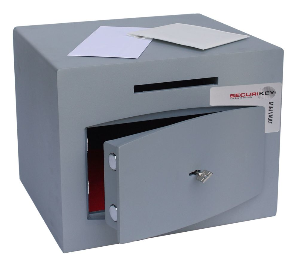 MINI-VAULT SIZE1 KEY LOCK DEPOSIT SAFE.