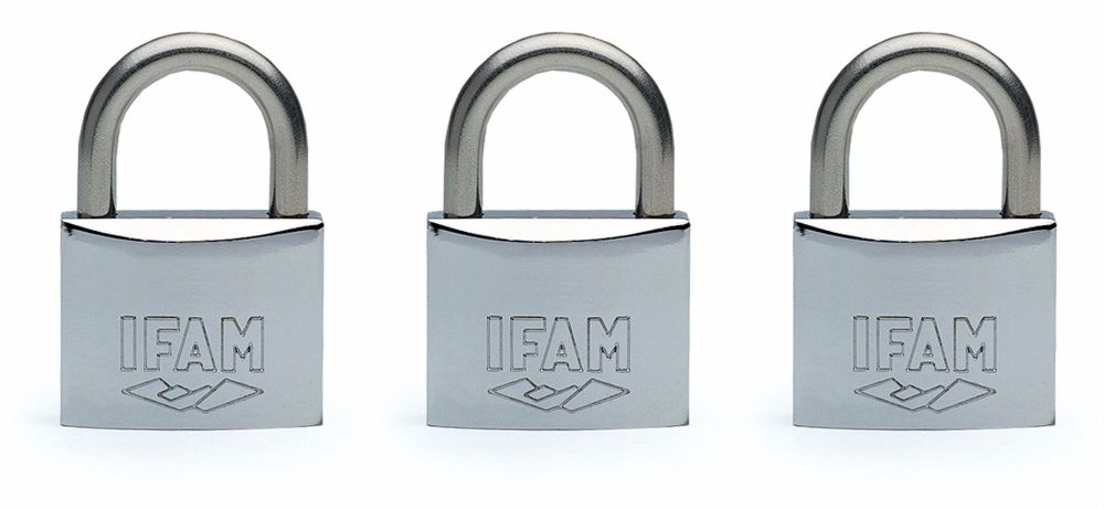 3pcs IFAM 40mm KEYED ALIKE STANDARD SHACKLE MARINE PADLOCKS - SALT SPRAY TE