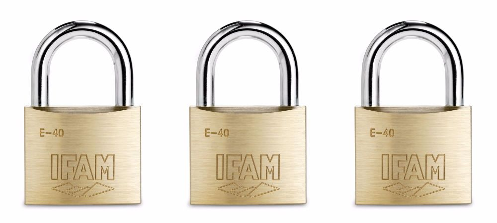 SET OF THREE KEYED ALIKE IFAM E40 MULTI-USE PADLOCKS