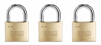 SET OF THREE KEYED ALIKE IFAM E40 MULTI-USE PADLOCKS. HARDENED STEEL SHACKLE.