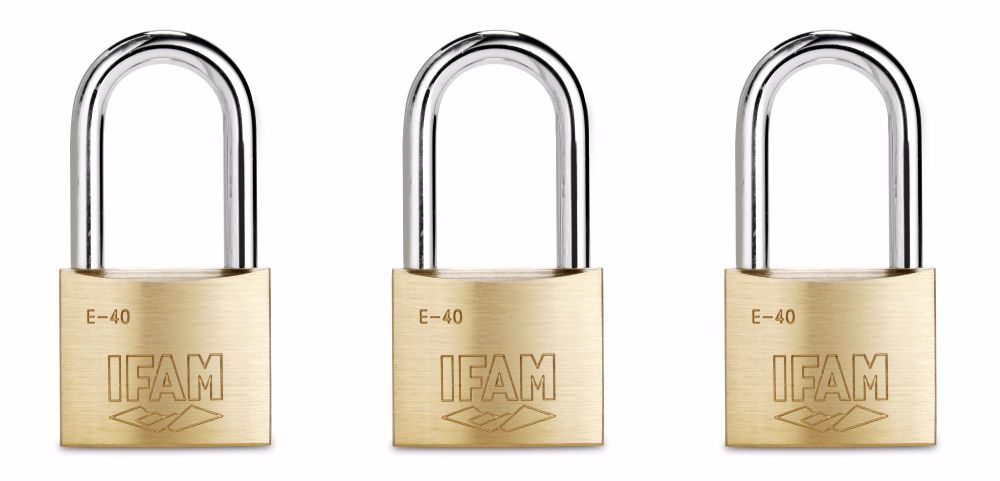 THREE IFAM LONG SHACKLE KEYED ALIKE E40LS MULTI-USE PADLOCKS.