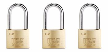 THREE IFAM LONG SHACKLE KEYED ALIKE E40LS MULTI-USE PADLOCKS. HARDENED STEEL SHACKLE.