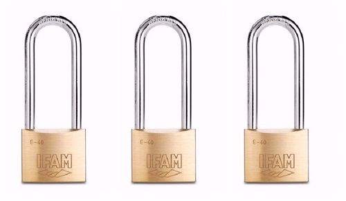 SET OF THREE KEYED ALIKE IFAM E40 EXTRA LONG SHACKLEE MULTI-USE PADLOCKS