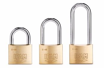 SET OF THREE IFAM E40 MULTI-USE PADLOCKS. THREE SHACKLE SIZES. KEYED ALIKE.