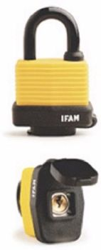 IFAM YELLOW WP WEATHER RESISTANT PADLOCK WITH PROTECTIVE KEYWAY CAP.