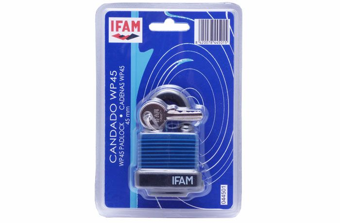 IFAM BLUE WP WEATHER RESISTANT PADLOCK WITH PROTECTIVE KEYWAY CAP.
