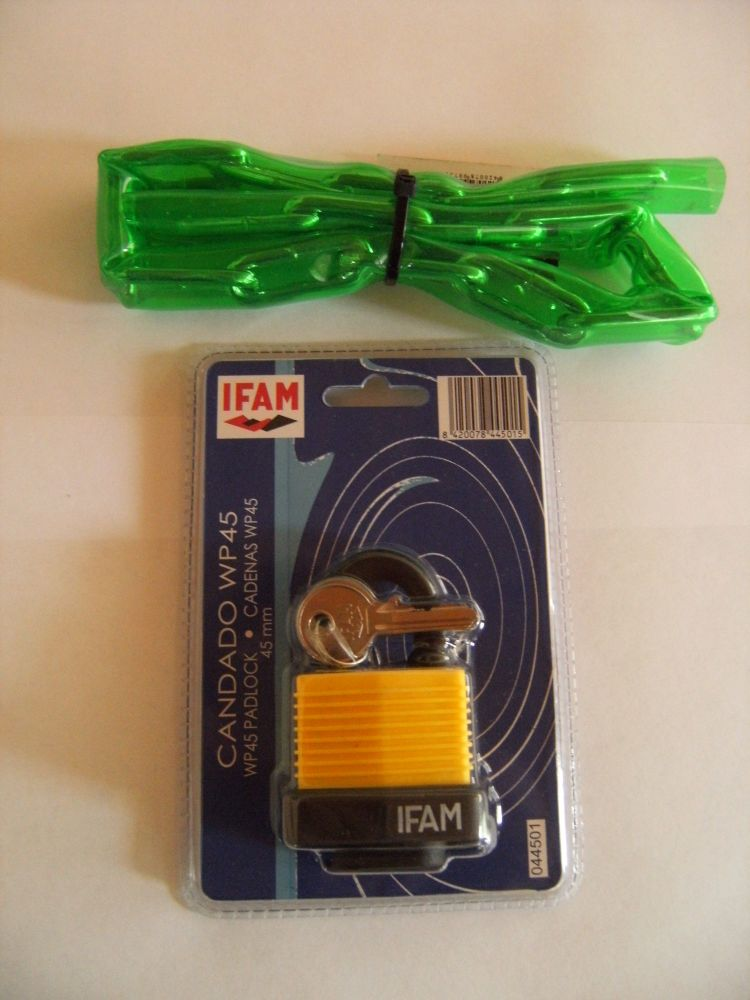 IFAM WP45 WEATHER PROTECTED PADLOCK PLUS 75cm GREEN VINYL CHAIN.