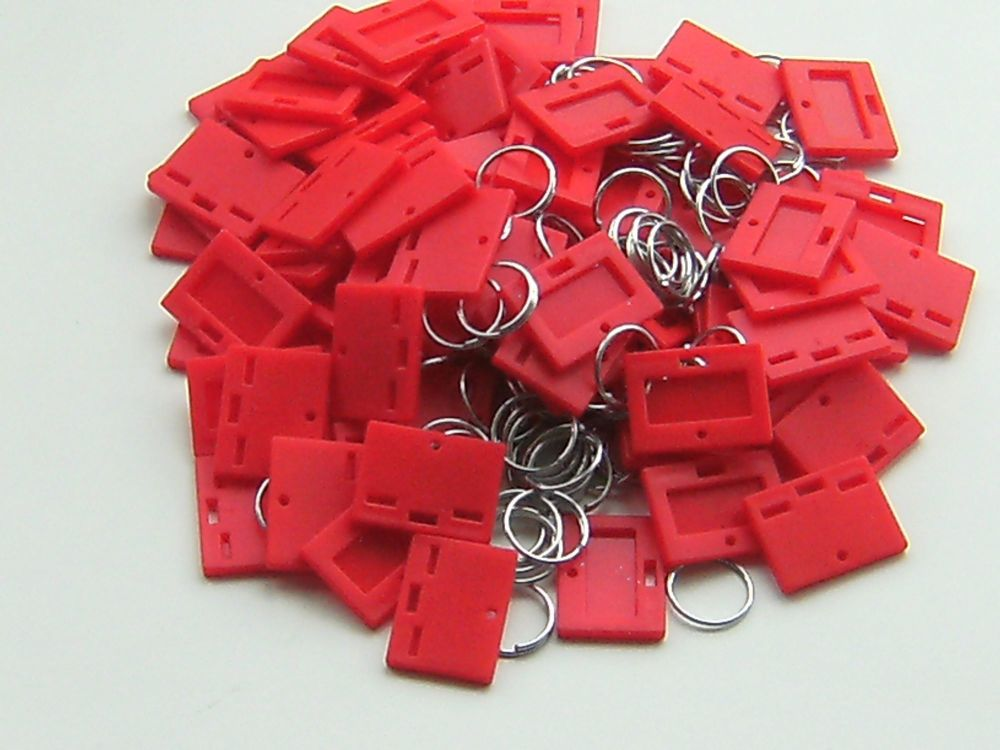 SECURIKEY KEY TAGS & RINGS. Pack of 100. (RED) AKKTR100