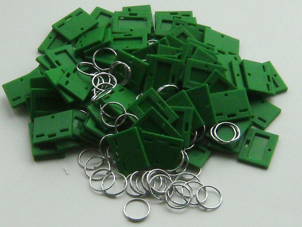 SECURIKEY KEY TAGS & RINGS. Pack of 100. (GREEN) AKKTR100