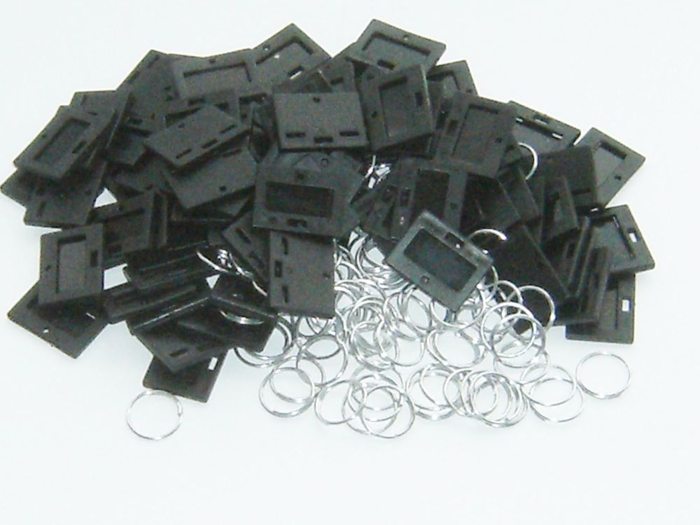 SECURIKEY KEY TAGS & RINGS. Pack of 100. (BLACK) AKKTR100