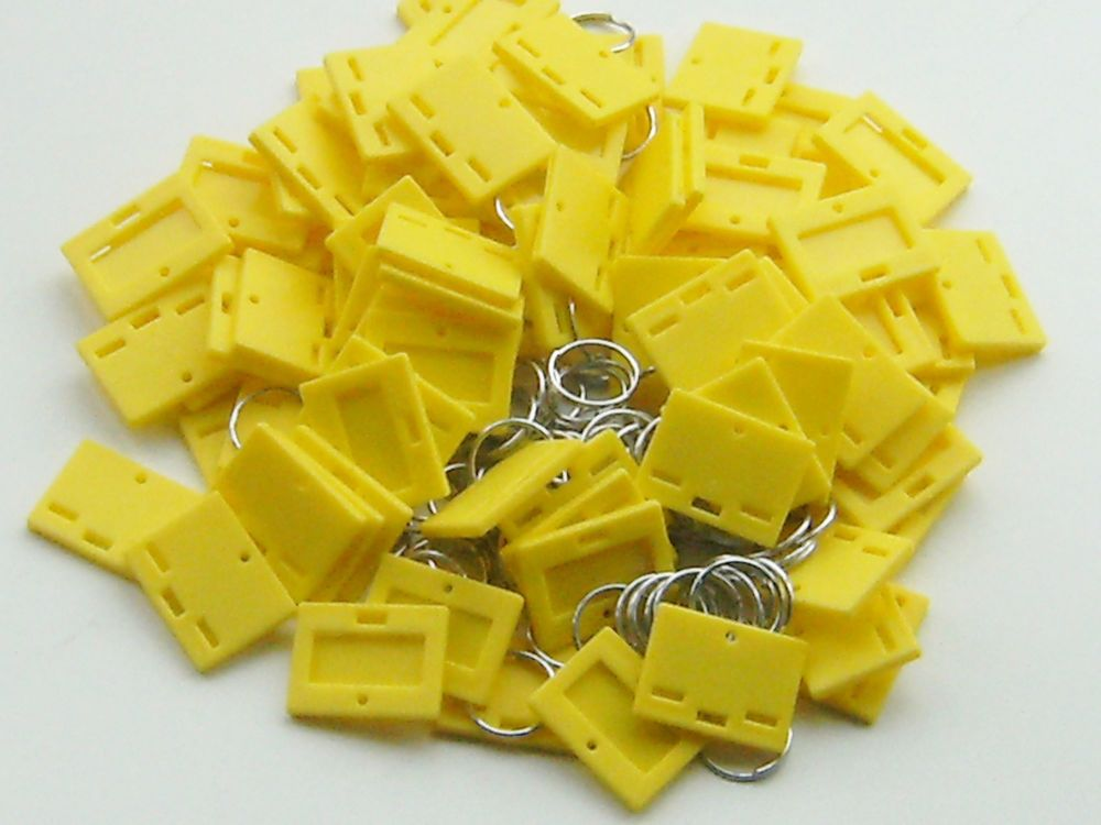 SECURIKEY KEY TAGS & RINGS. Pack of 100. (YELLOW) AKKTR100