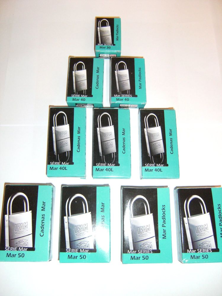 12pcs.IFAM 50mm KEYED ALIKE LONG SHACKLE MARINE PADLOCK. PUERTO RICO OFFER.