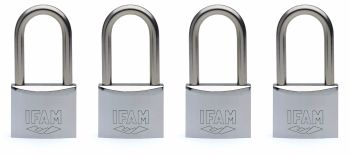 4pcs.IFAM 50mm KEYED ALIKE LONG SHACKLE MARINE PADLOCK. SALT SPRAY TESTED.