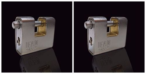 <!--001-->TWO IFAM ARMOURED 60 CEN 3 INSURANCE RATED PADLOCKS. KEYED ALIKE
