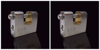 TWO IFAM ARMOURED 90 CEN 4 INSURANCE RATED PADLOCKS. KEYED ALIKE MODEL.
