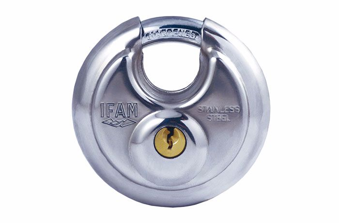 IFAM HIGH SECURITY PROTECTED SHACKLE INDOOR/OUTDOOR CIRCULAR PADLOCK. SS BO