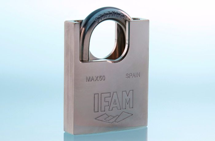 IFAM MAX50 PROTECTED STAINLESS STEEL SHACKLE  PADLOCK. CORROSION PROTECTED