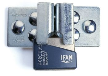 IFAM DOOR SECURITY KIT. HIGH SECURITY HASP PLUS HERCULES CEN 4 RATED PADLOCK.