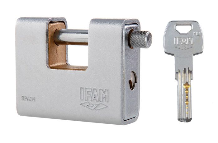 <!--005-->IFAM ARMOURED 80 CEN 4 INSURANCE RATED PADLOCK. KEYED ALIKE MODEL