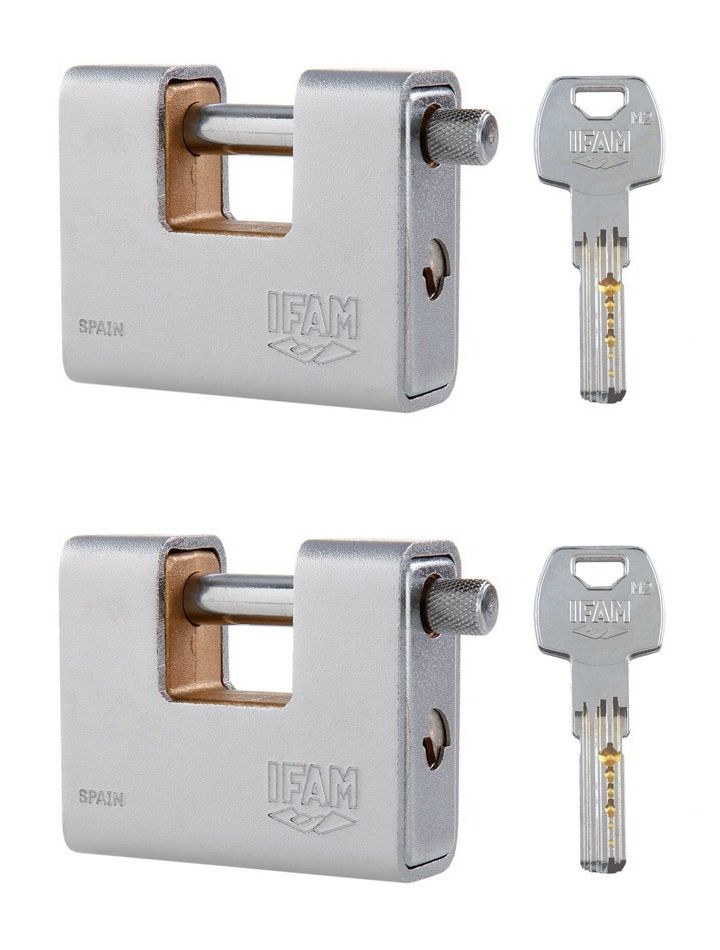 <!--006-->TWO IFAM ARMOURED 80 CEN 4 INSURANCE RATED PADLOCKS. KEYED ALIKE