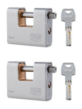 TWO NEW IFAM ARMOURED A-90-KA-S CEN 4 PADLOCKS. KEYED ALIKE. DIMPLE KEY.