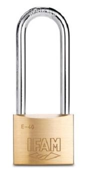 IFAM E50 LARGER SIZE BRASS PADLOCK. 50mm BODY. EXTRA LONG STEEL SHACKLE. USE WITH LARGER HASPS OR CHAINS.