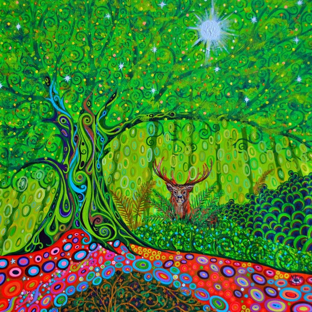 Stag in a woodland glade painting by Mark Betson Artist