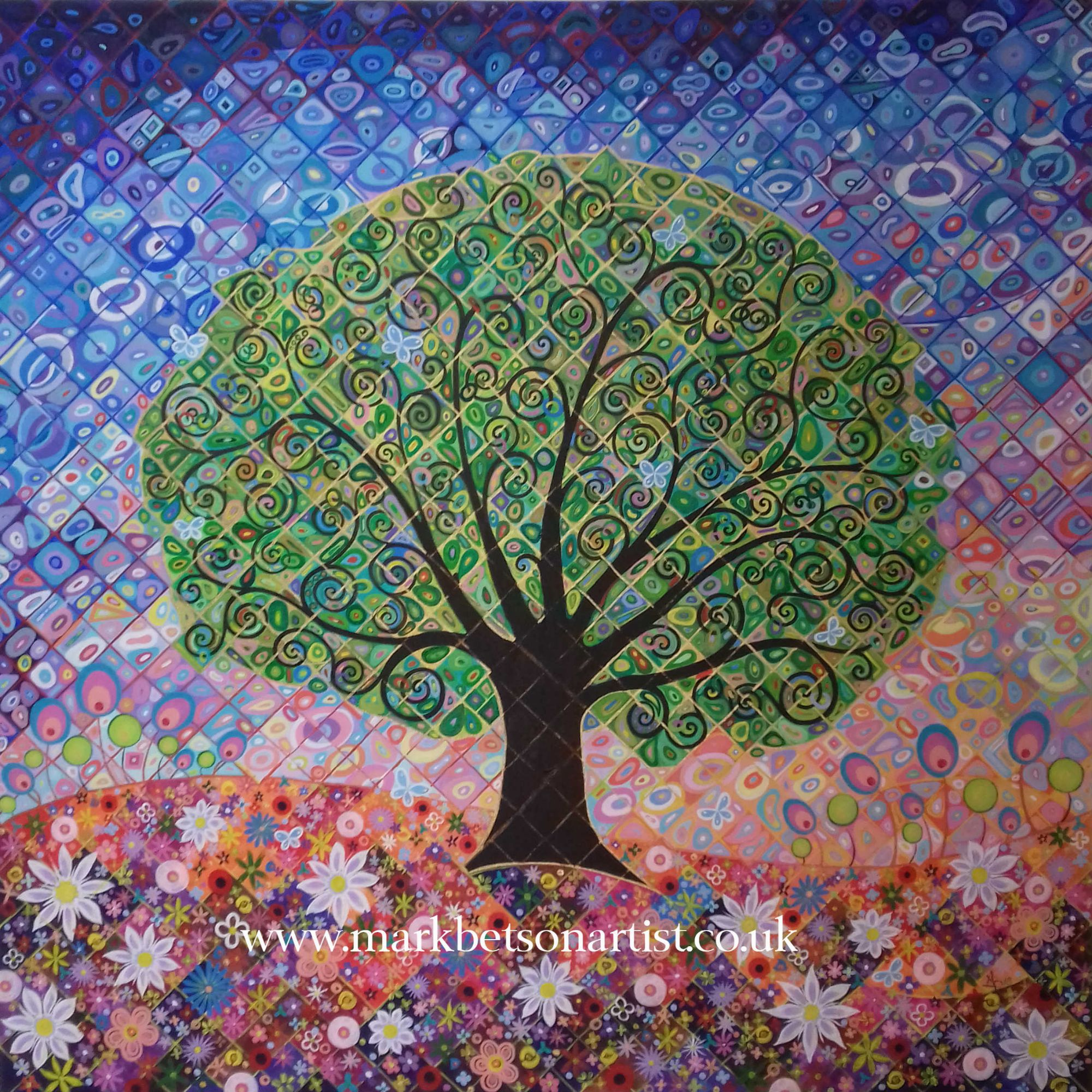 Tree of Life with Blue Butterflies and Meadow Flowers