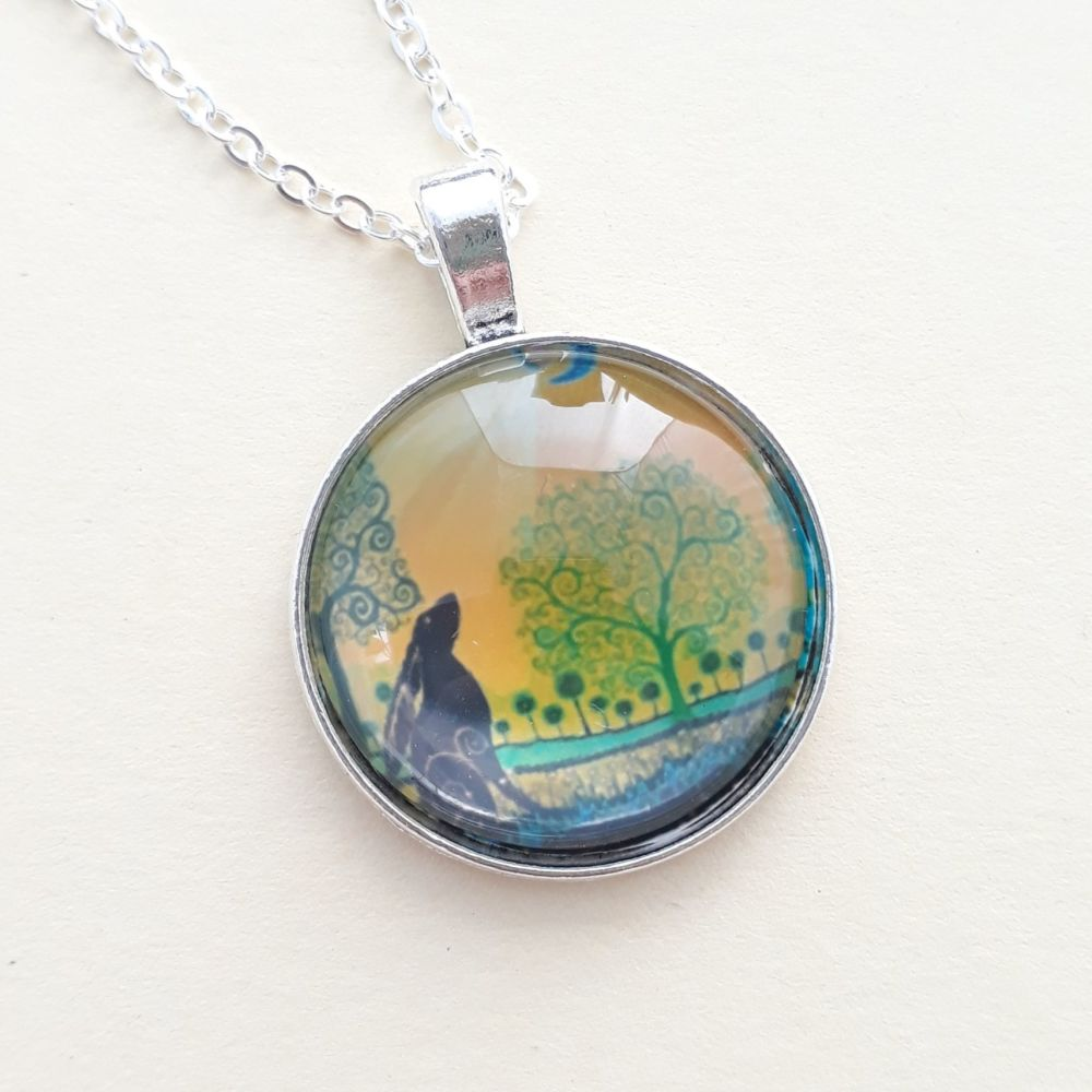 Moon Gazing Hare Art Charm