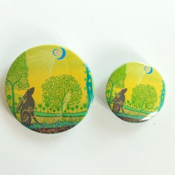 Moon Gazing Hare Badges