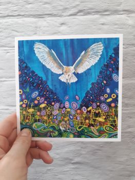 Barn owl art card