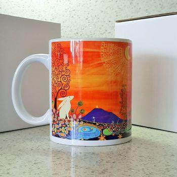 Moon Gazing Hare and Glastonbury Tor Mug