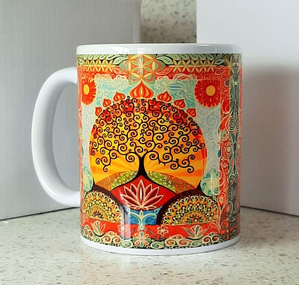 Lotus Flower and Tree of Life Mug