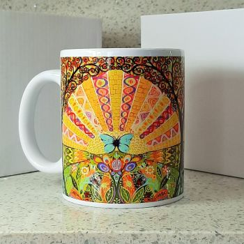 """Blue Butterfly"" Art Nouveau Mug"