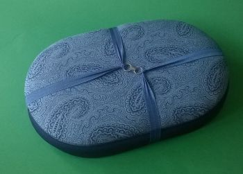 Mini Traveller  154 Denim Blue Paisley / Blue Beading Tray + Lid