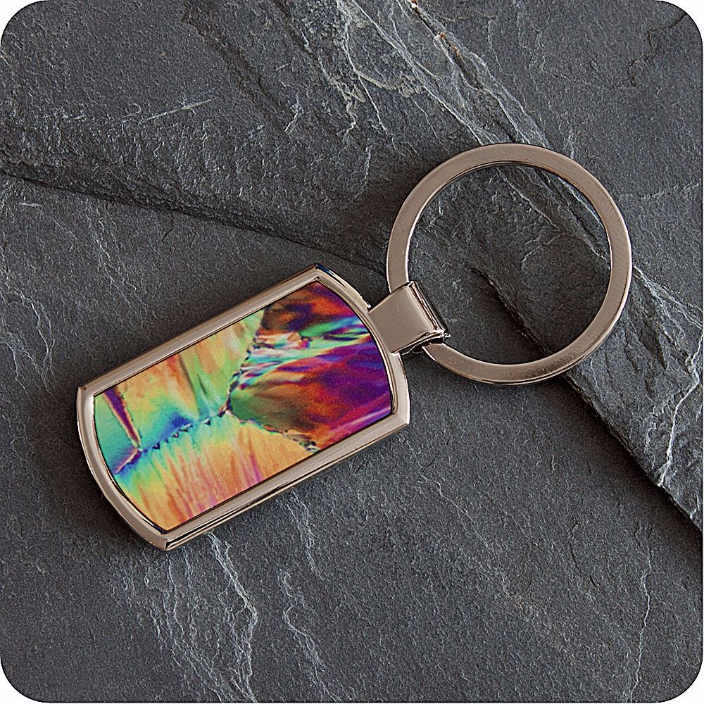 CITRIC ACID CRYSTALS (POLARISED LIGHT MICROSCOPY) KEYRING (K12)