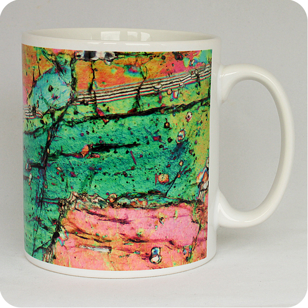 Pyroxene from Vesuvius, Italy rock thin section Mug (M46)