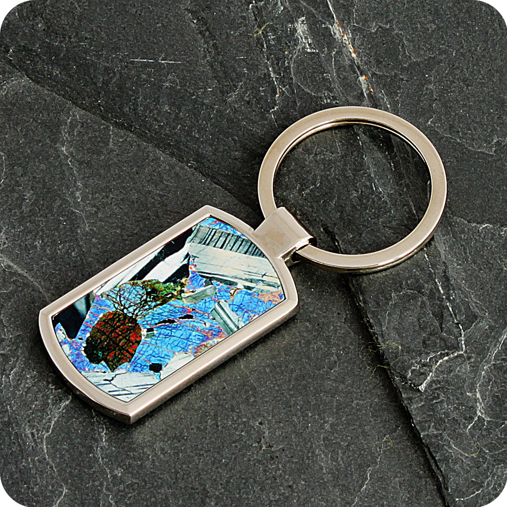Gabbro from Huntly, Scotland rock thin section Keyring (K43)