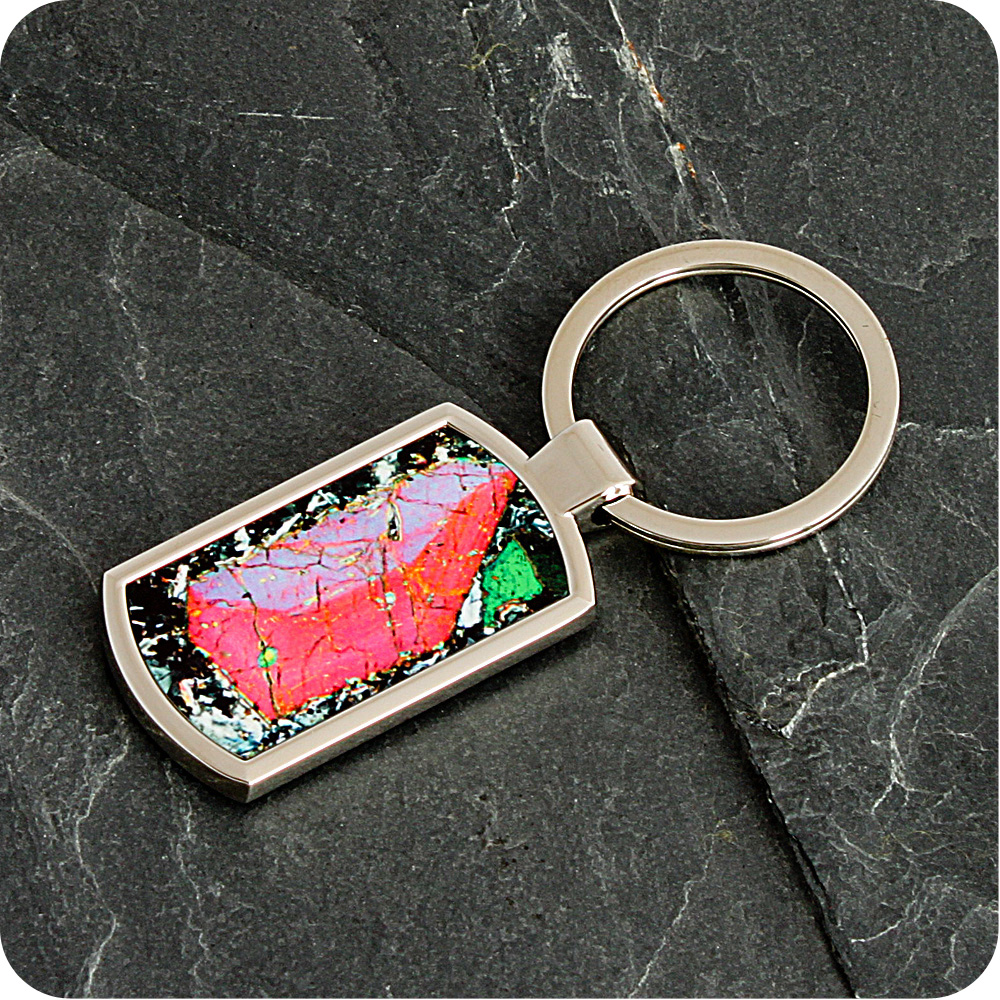 Pyroxene from Vesuvius, Italy rock thin section Keyring (K48)