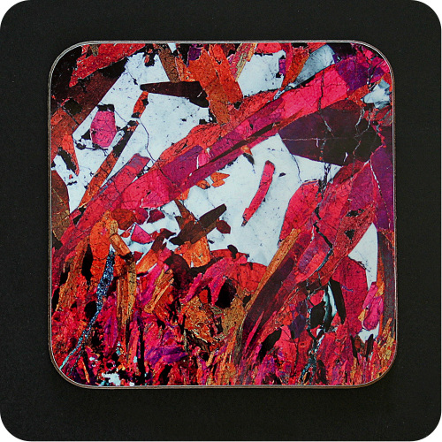 <!-- 00107 -->Piemontite from St Marcel, Italy rock thin section Coaster (C