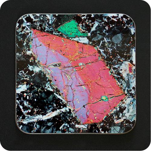 <!-- 00115 -->Pyroxene from Vesuvius, Italy rock thin section Coaster (C48)
