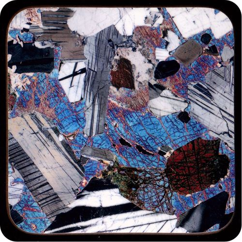 <!-- 00075 -->Gabbro from Huntly, Scotland rock thin section Coaster (C43)
