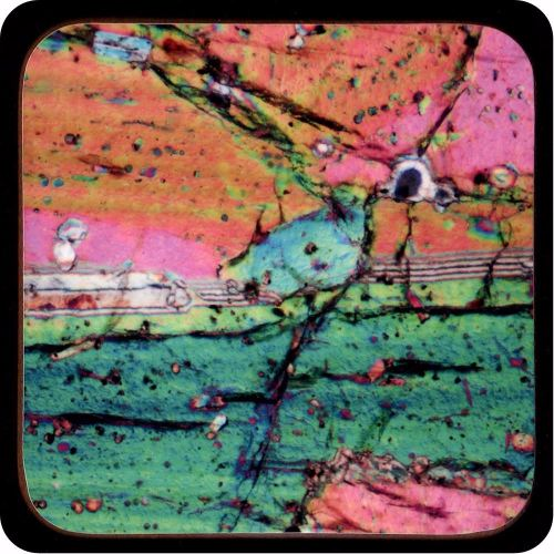 <!-- 00145 -->Pyroxene from Vesuvius, Italy rock thin section Coaster (C46)