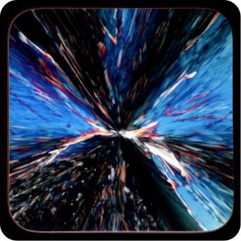 CHEMICAL CRYSTALS (CITRIC ACID) POLARISED LIGHT MICROSCOPE IMAGE COASTER (C22)